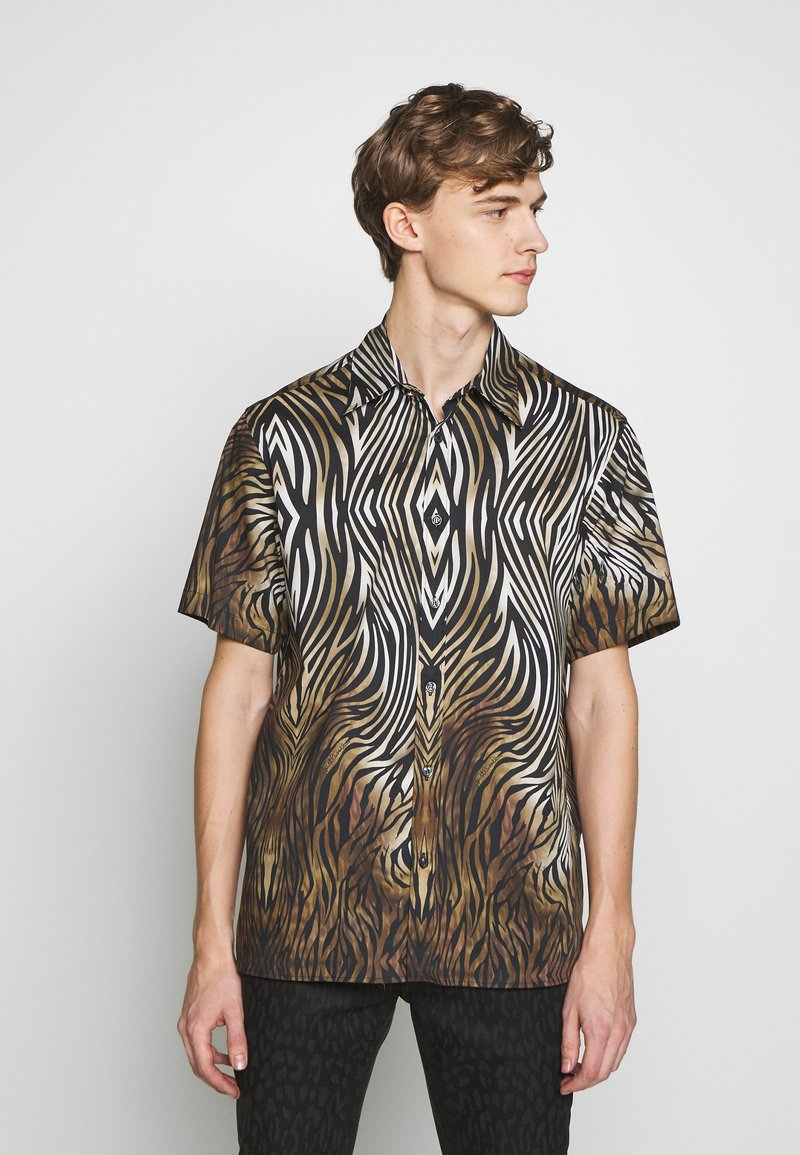 Just Cavalli - SHORT SLEEVE ANIMAL PRINT - Hemd - black,/brown