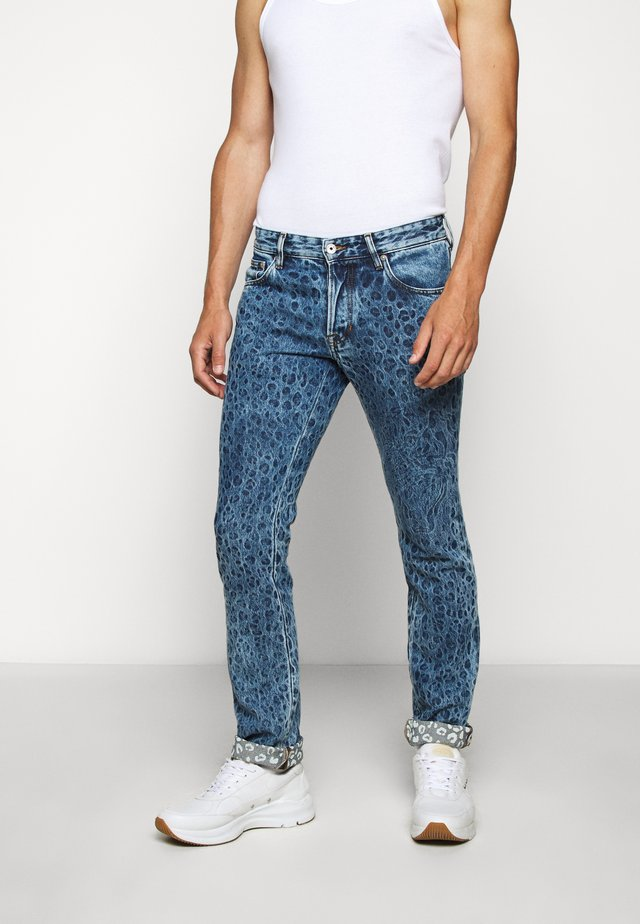 PANTS 5 POCKETS ANIMAL PRINT - Slim fit -farkut - blue denim