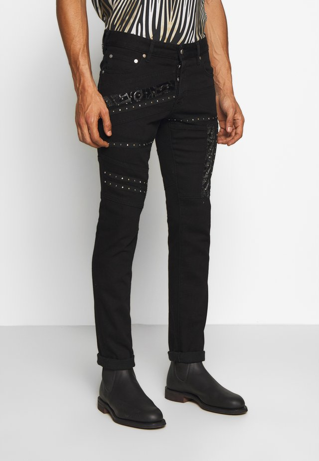 PANTS 5 POCKETS TAPING - Jeansy Slim Fit - black