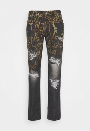 PANTS POCKETS LEOPARD PRINT - Jeans Slim Fit - black