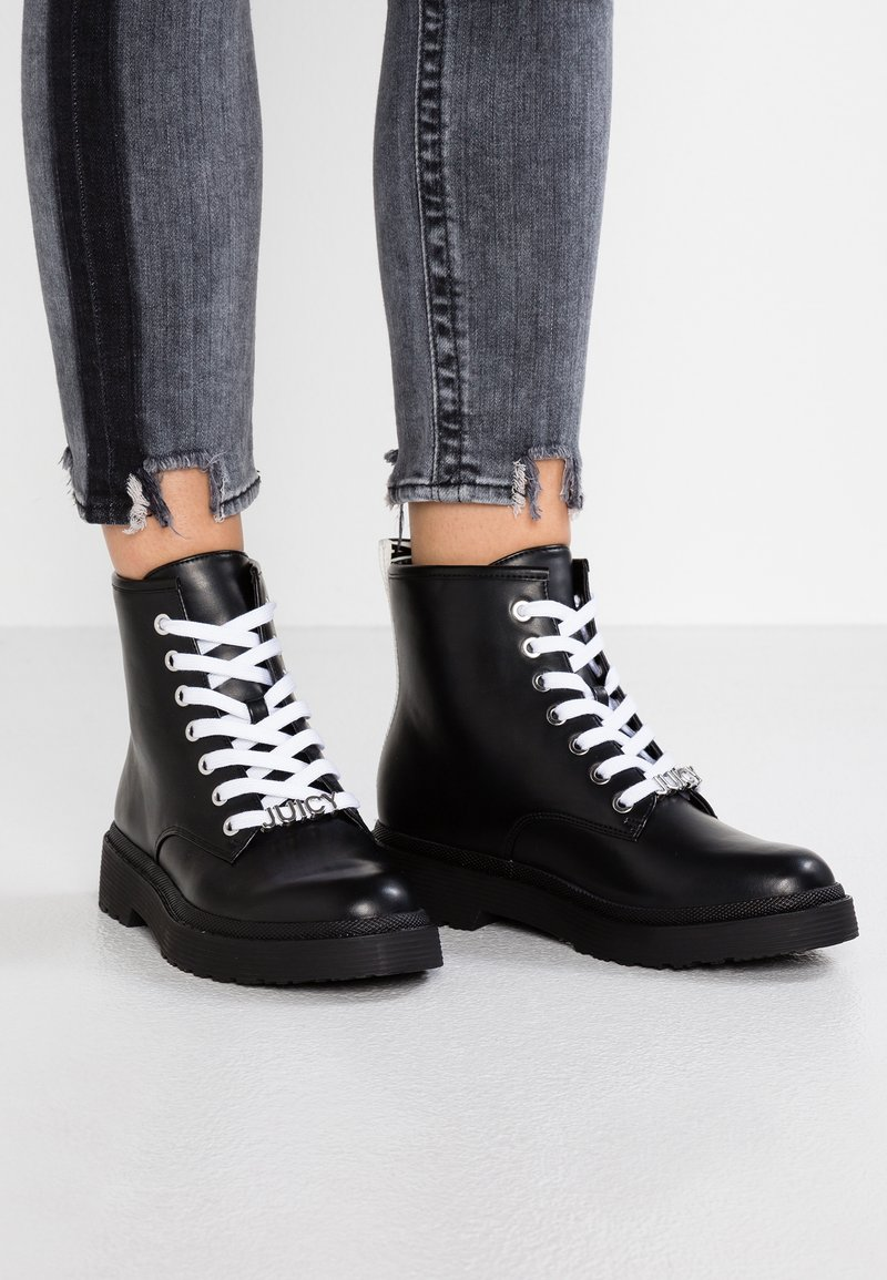 Juicy by Juicy Couture - LEONIA - Lace-up ankle boots - pitch black/white