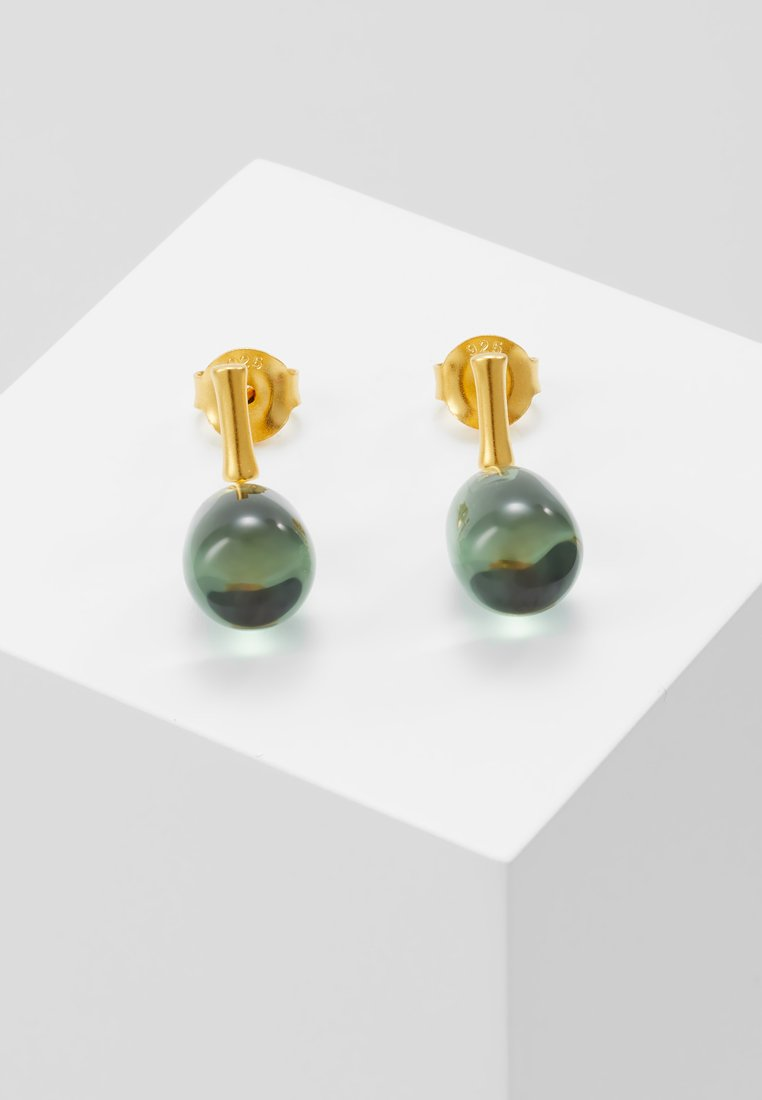 Julie Sandlau - BAMBOO WISDOM EARSTUDS - Náušnice - gold-coloured/dusty green