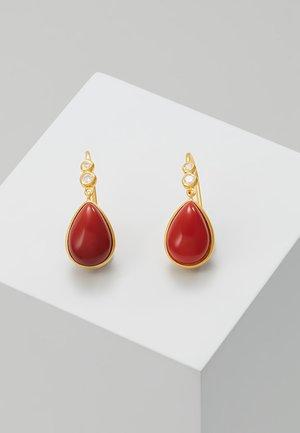 POETRY EARRINGS - Korvakorut - gold-coloured/red coral/chrystal