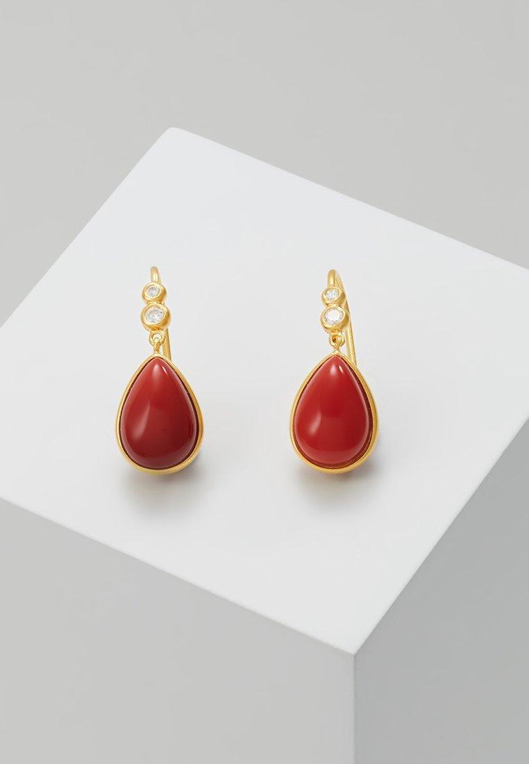Julie Sandlau - POETRY EARRINGS - Ohrringe - gold-coloured/red coral/chrystal