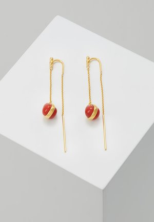 POETRY CHAIN EARRINGS - Náušnice - gold-coloured /red/coral
