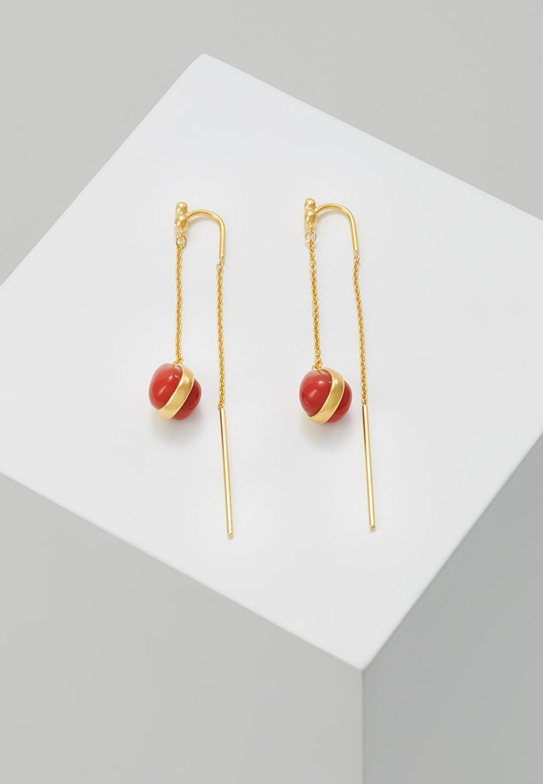 Julie Sandlau - POETRY CHAIN EARRINGS - Korvakorut - gold-coloured /red/coral