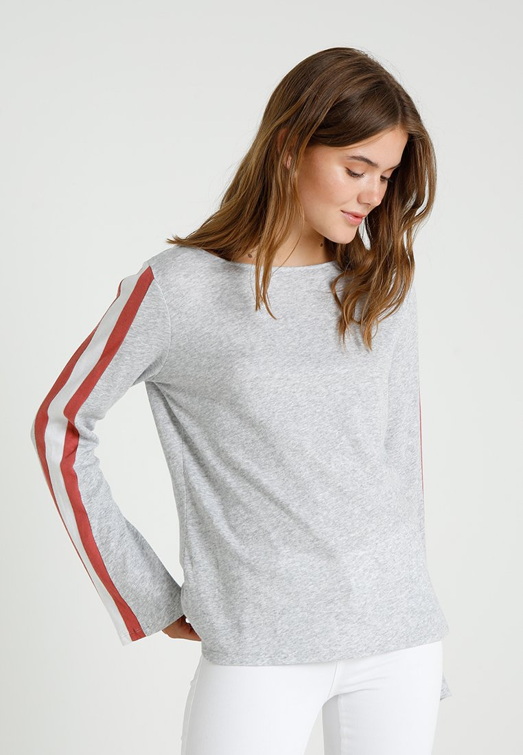 Juvia - SIDE STRIPE - Long sleeved top - grey melange