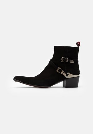 VEGAN SYLVIAN DOUBLE BUCKLE  - Cowboy/biker ankle boot - black