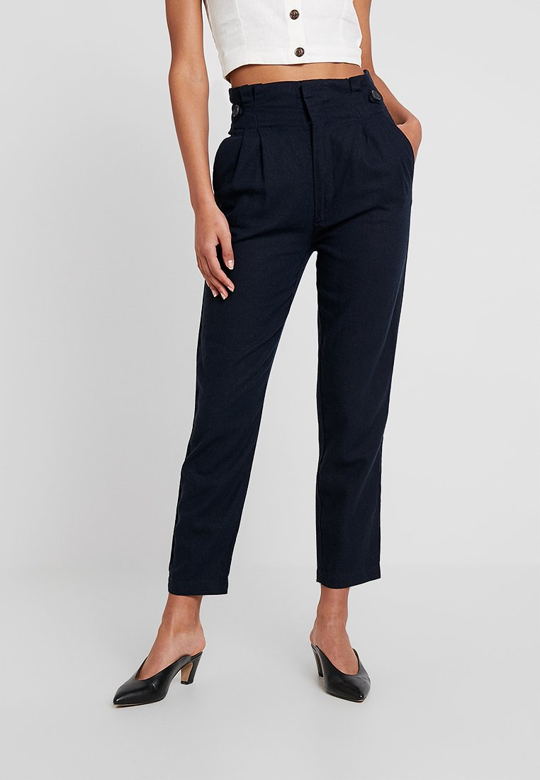 JDY - JDYAMBER HIGH PAPERWAIST - Trousers - navy blazer