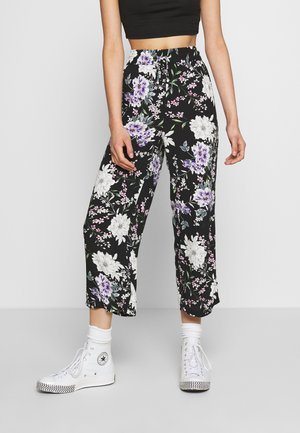 JDYSTARR LIFE WIDE CROPPED PANT - Bukse - black/rose of sharon