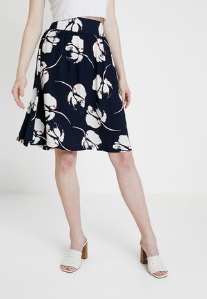 JDYLAYLA MIDI SKIRT - Falda acampanada - navy blazer/cloud dancer