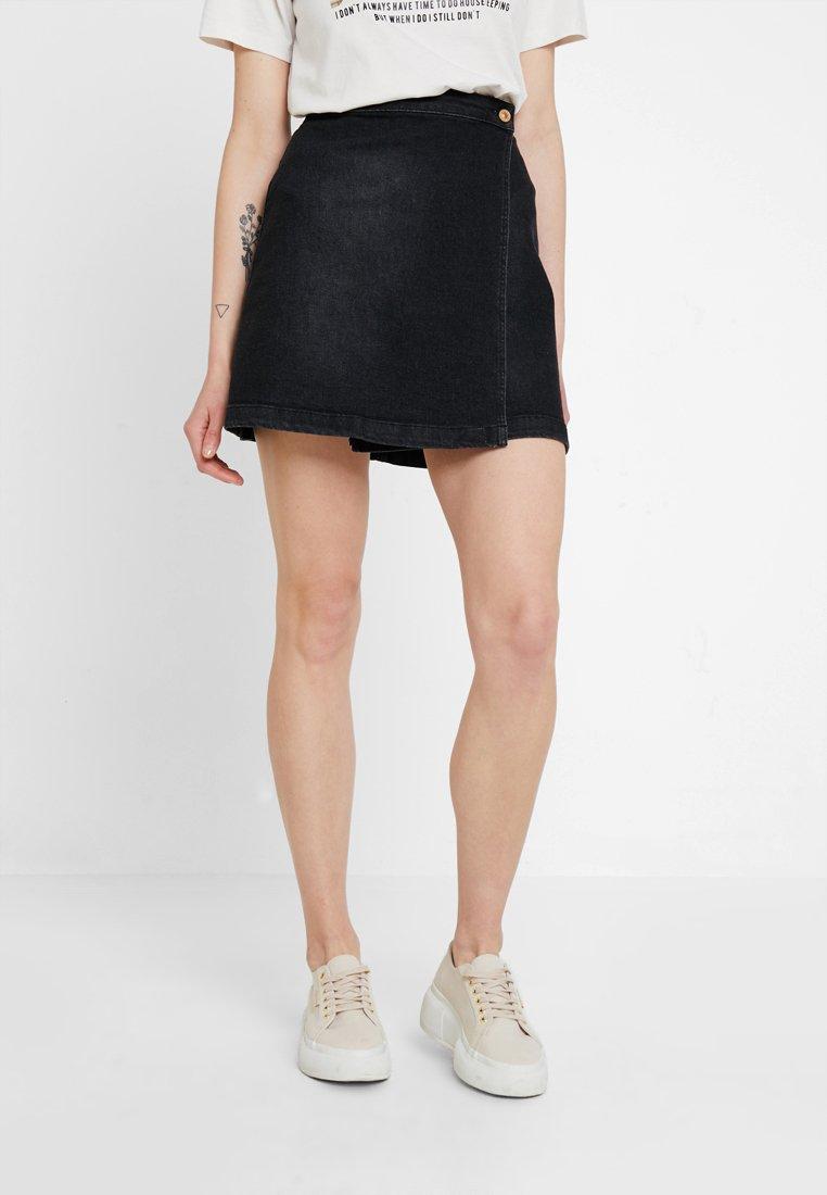 JDY - JDYALLY WRAP SKIRT - Áčková sukně - black denim