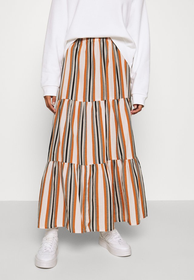 JDYSTRIPY LIFE SKIRT  - Gonna a campana - cloud dancer/brown/black
