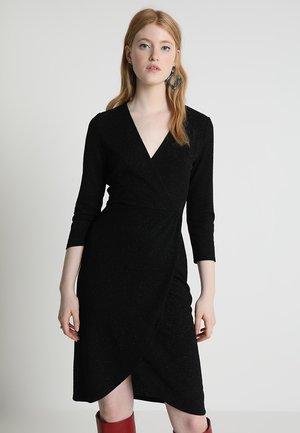 JDYCAROL GLITTER WRAP DRESS - Jersey dress - black