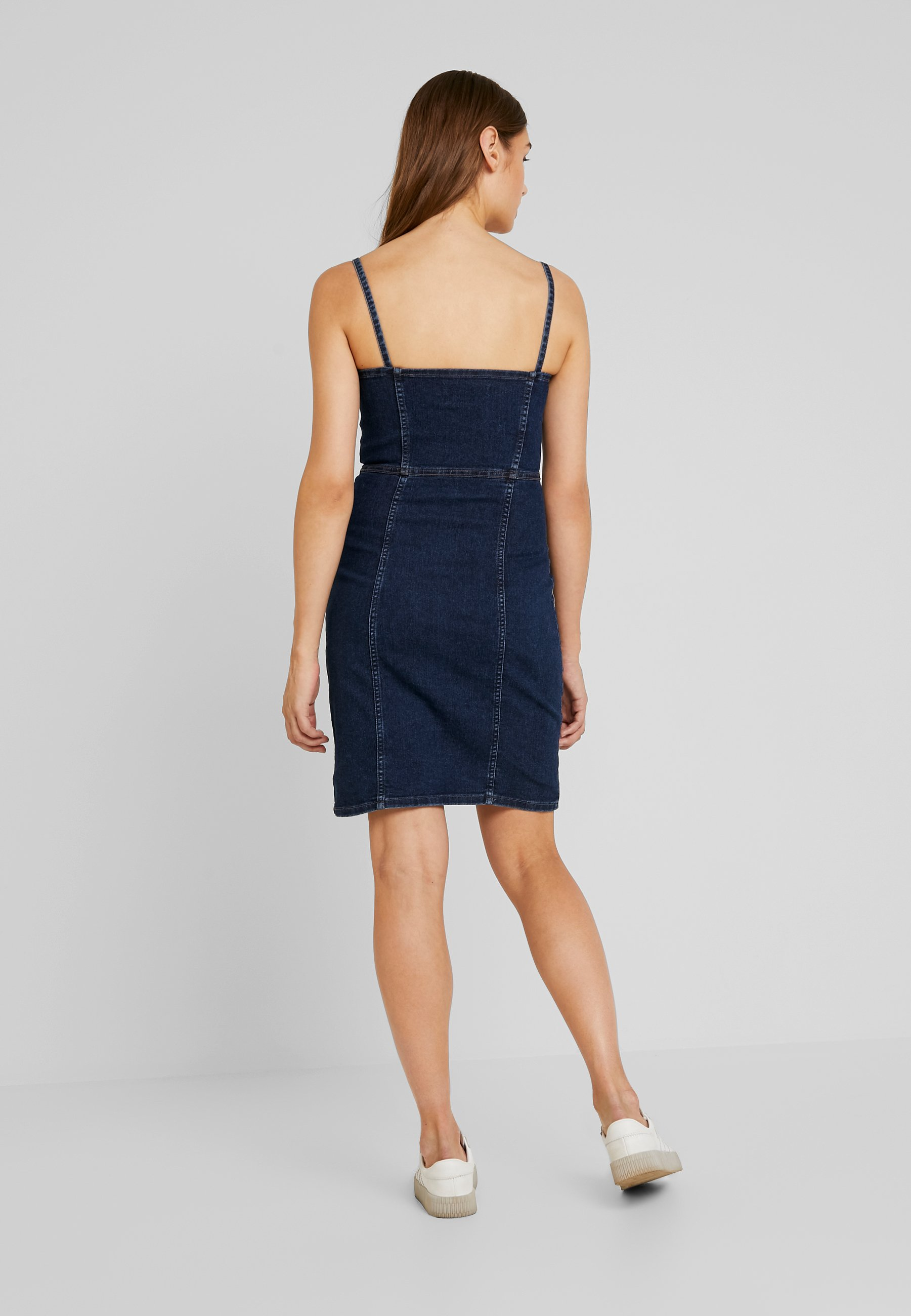 JDY Robe en jean - denim bleu foncé dark blue denim
