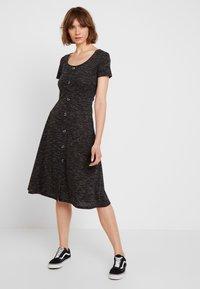 JDY - JDYLAUREN BUTTON DRESS - Jersey dress - dark grey melange - 0