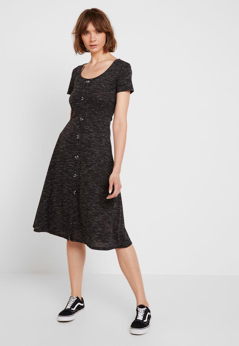 JDY - JDYLAUREN BUTTON DRESS - Jersey dress - dark grey melange
