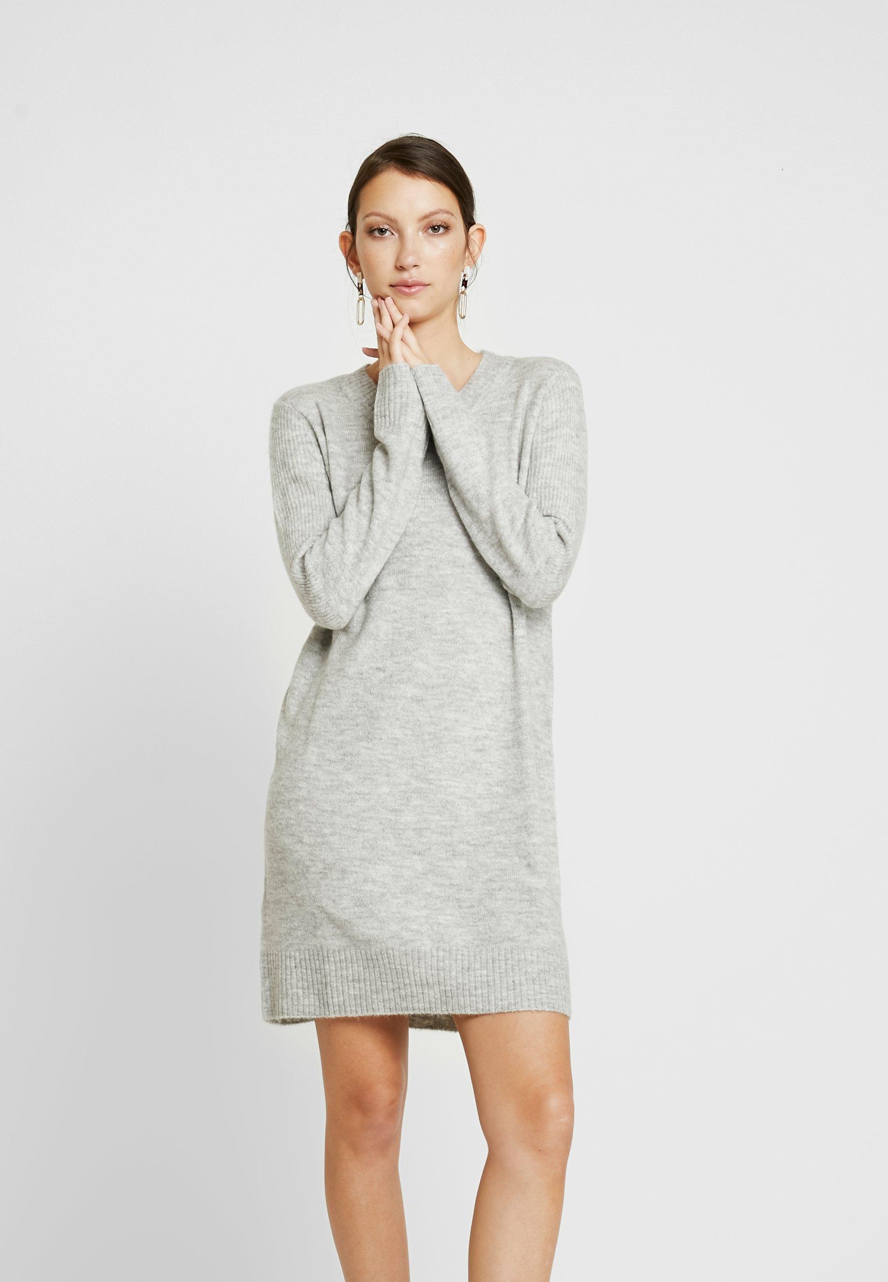 JDY Robe pull - gris clair chiné light grey melange