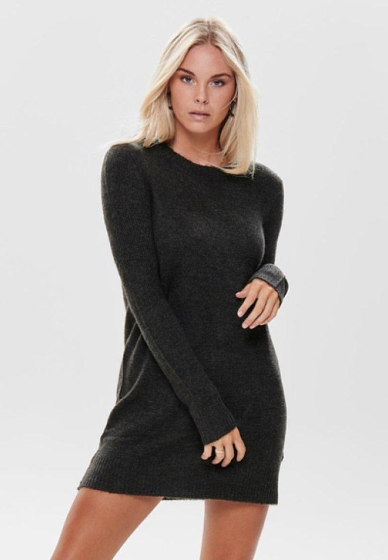 JDY - Pletené šaty - dark grey melange