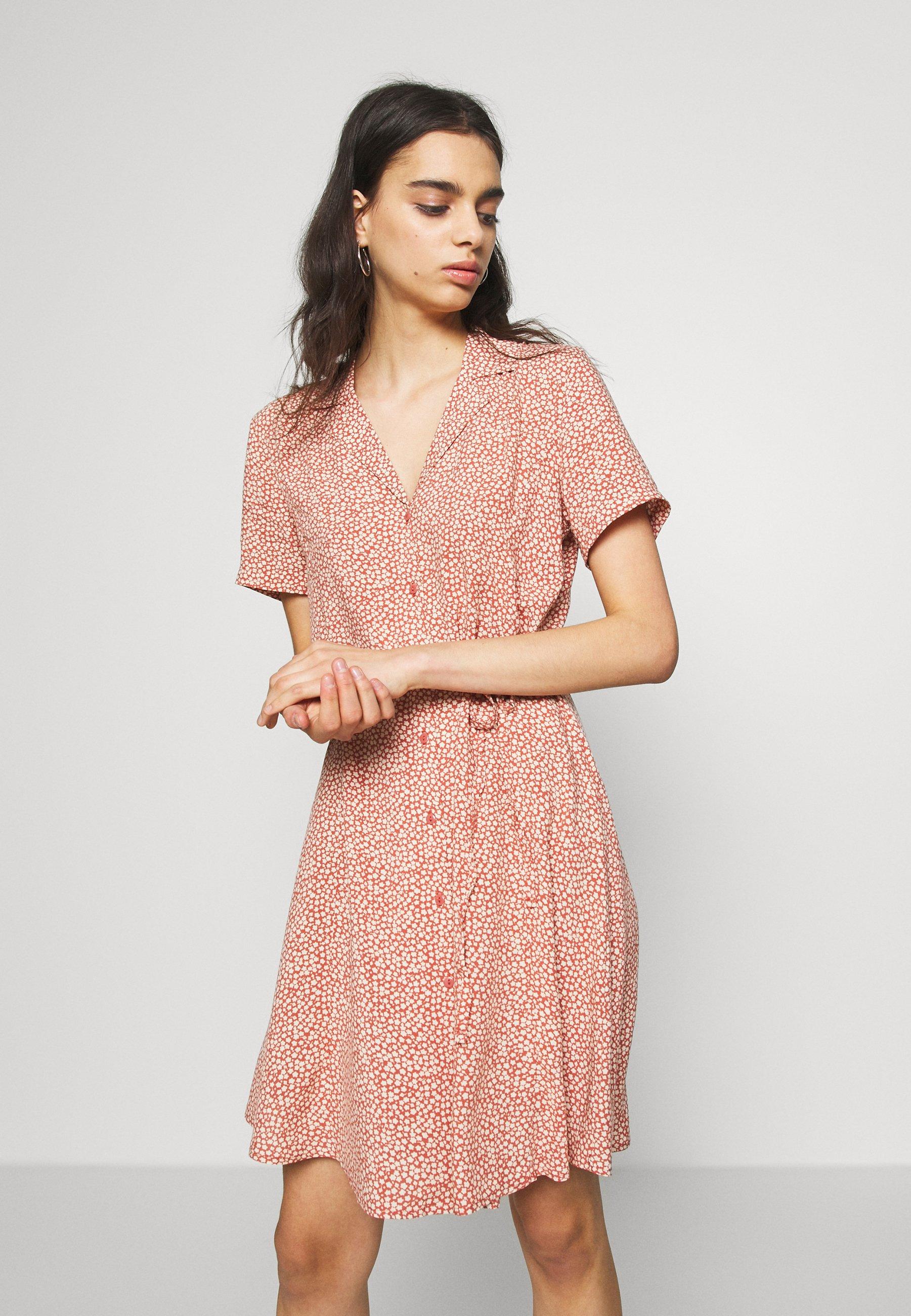 JDY JDYSTARR LIFE SHIRT DRESS - Sukienka koszulowa - etruscan red/sandshell