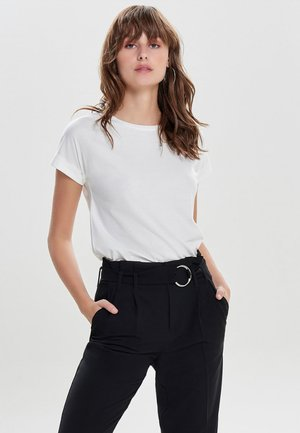 JDYLOUISA LIFEFOLD UP TOP - T-shirt basic - off-white