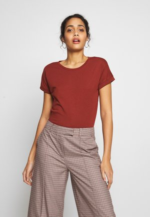 JDYLOUISA LIFEFOLD UP TOP - Jednoduché triko - bordeaux