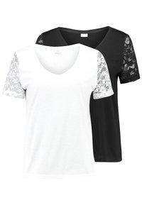 JDY - JDYKIM TREATS V-NECK 2 PACK - T-shirt med print - black/cloud dancer - 0