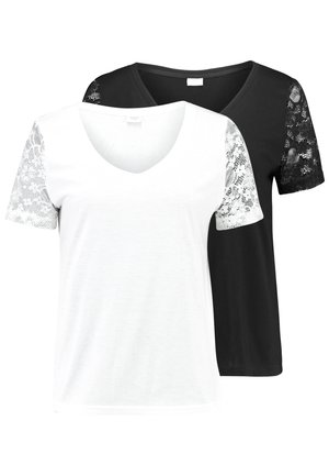 JDYKIM TREATS V-NECK 2 PACK - Camiseta estampada - black/cloud dancer