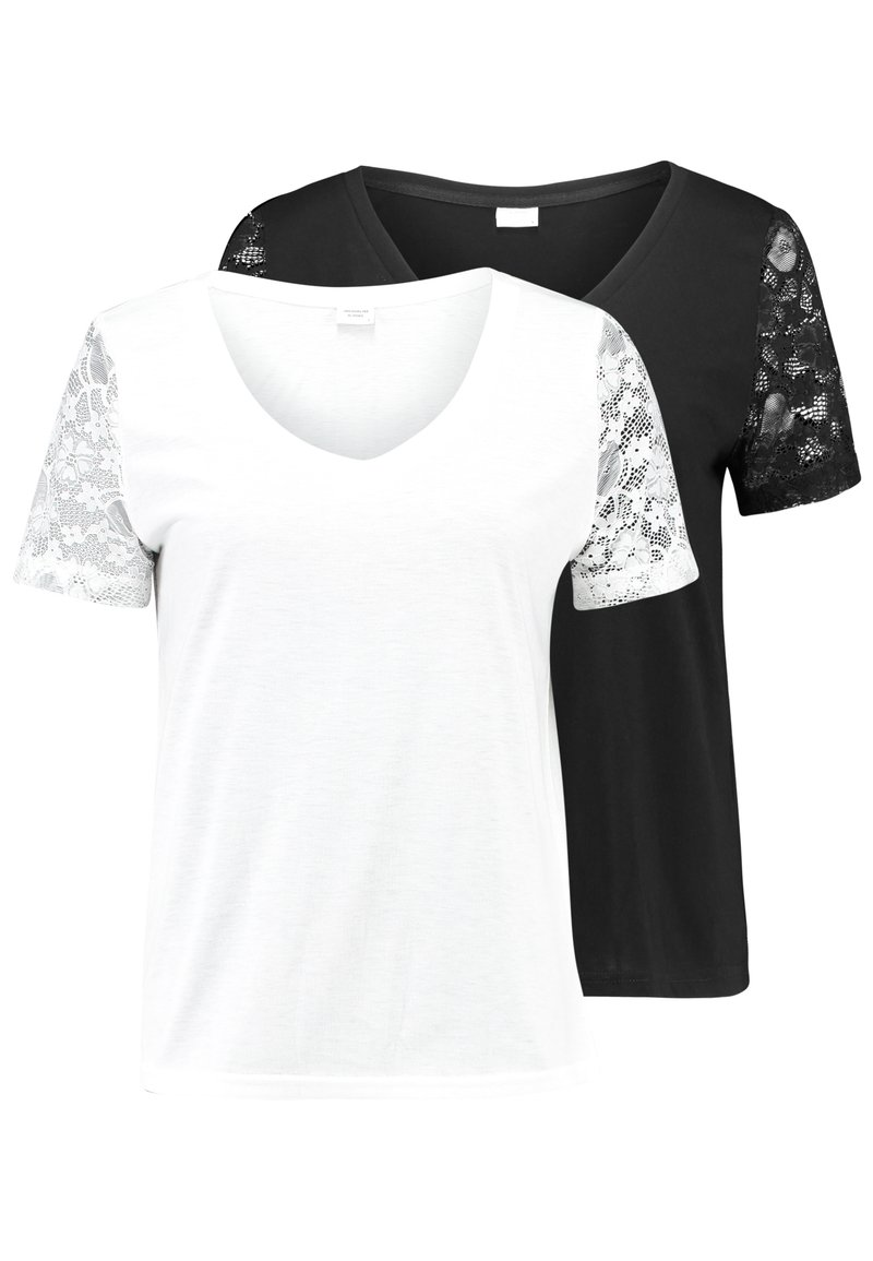 JDY - JDYKIM TREATS V-NECK 2 PACK - T-shirt med print - black/cloud dancer