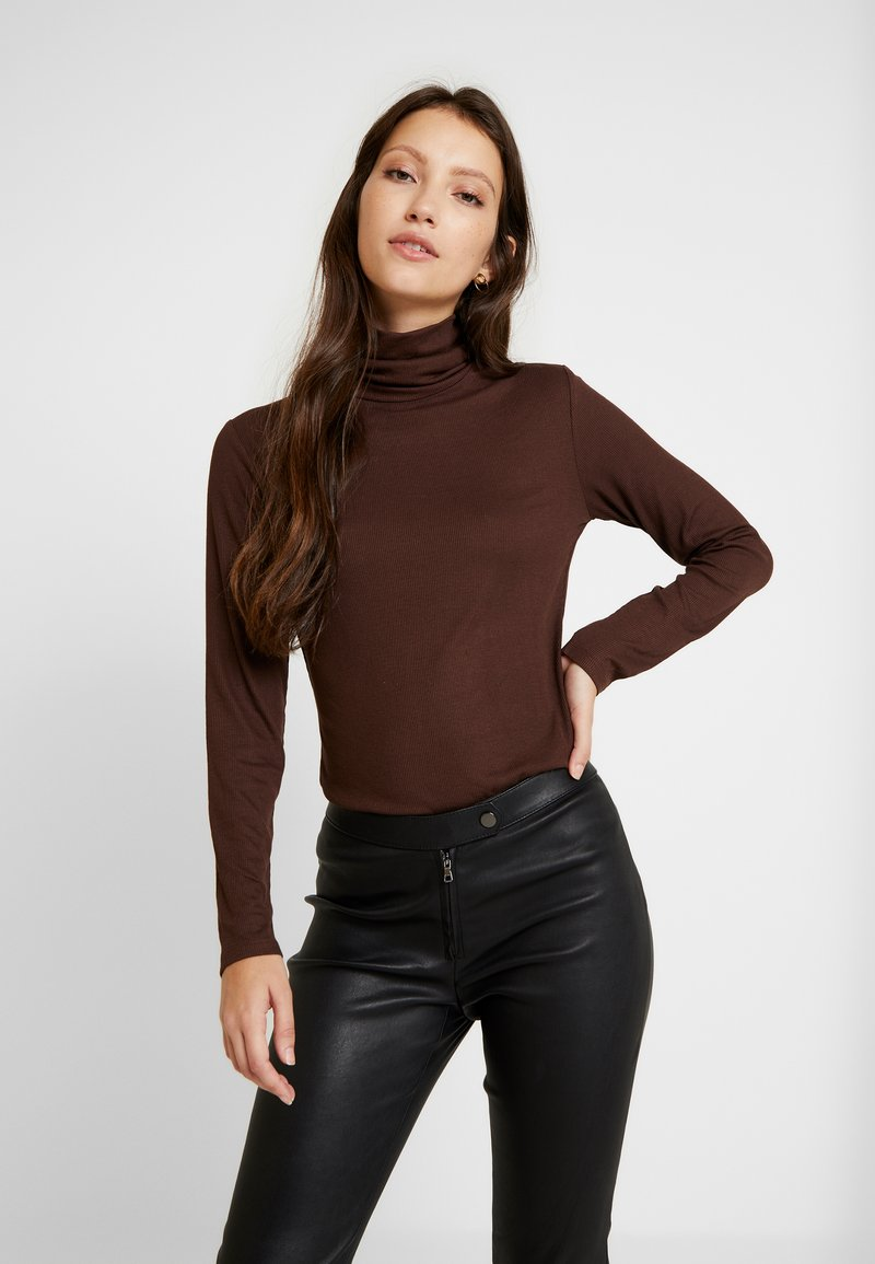 JDY - JDYCA MINI ROLLNECK  - Top s dlouhým rukávem - chicory coffee