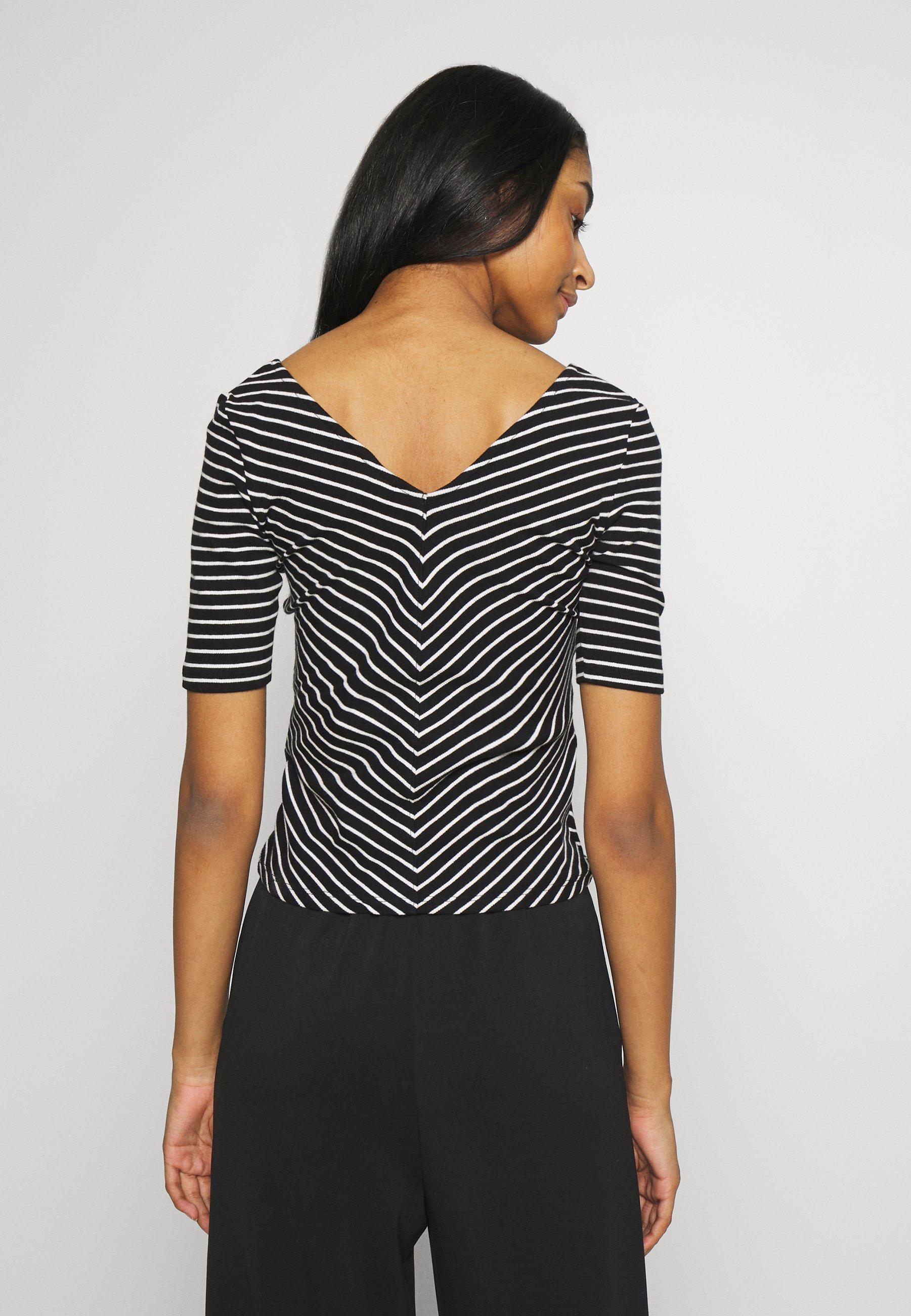 JDY JDYIMOLA LIFE V-NECK TOP  - T-shirts med print - black
