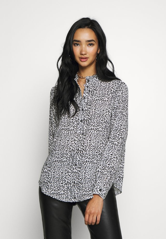JDYMONICA PLACKET - Button-down blouse - cloud dancer/black