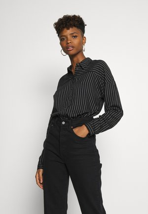Button-down blouse - black/cloud dancer stripe