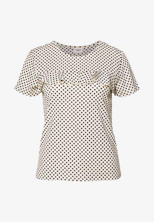 JDYFIONA FRILL - T-shirts med print - sandshell/black