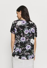 JDY - JDYSTARR LIFE S/S V-NECK  WVN - Blouse - black/rose of sharon - 2