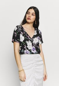 JDY - JDYSTARR LIFE S/S V-NECK  WVN - Blouse - black/rose of sharon - 0