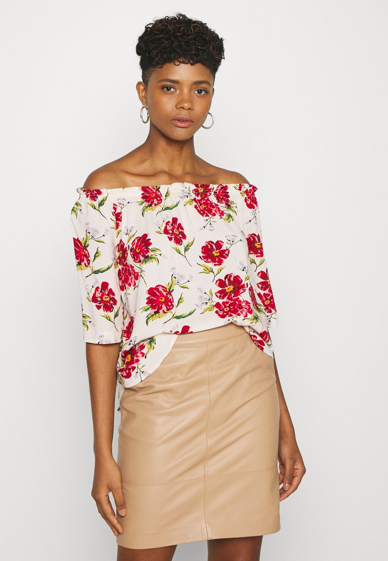 JDY - JDYSTARR LIFE 3/4 OFFSHOULDER - Blouse - shell/barbados cherry big flower