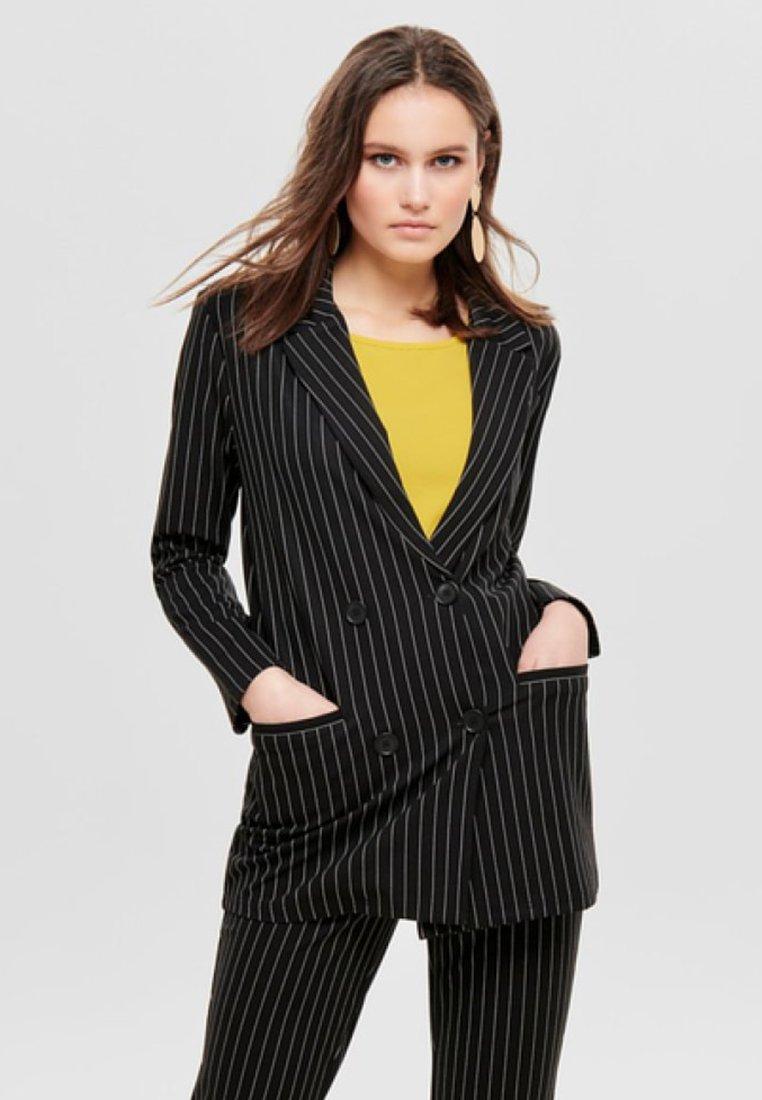JDY - NADELSTREIFEN - Short coat - black