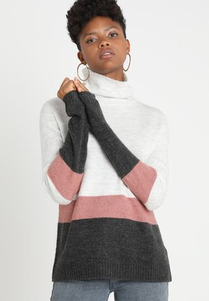 JDYZINDY HIGHNECK  - Jumper - white melange/nostalgia rose