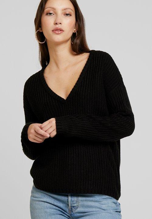 JDY JDYPEGGY TREATS V-NECK - Sweter - black Odzież Damska AZTF-WU1 trwałe modelowanie