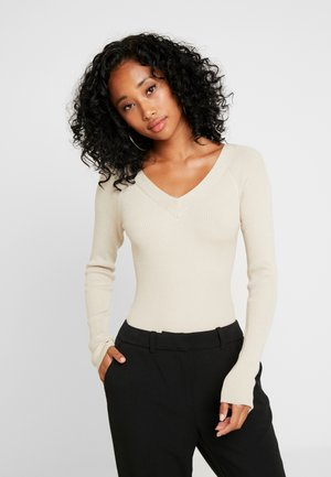 JDYPIPPA TREATS V NECK - Strickpullover - oatmeal