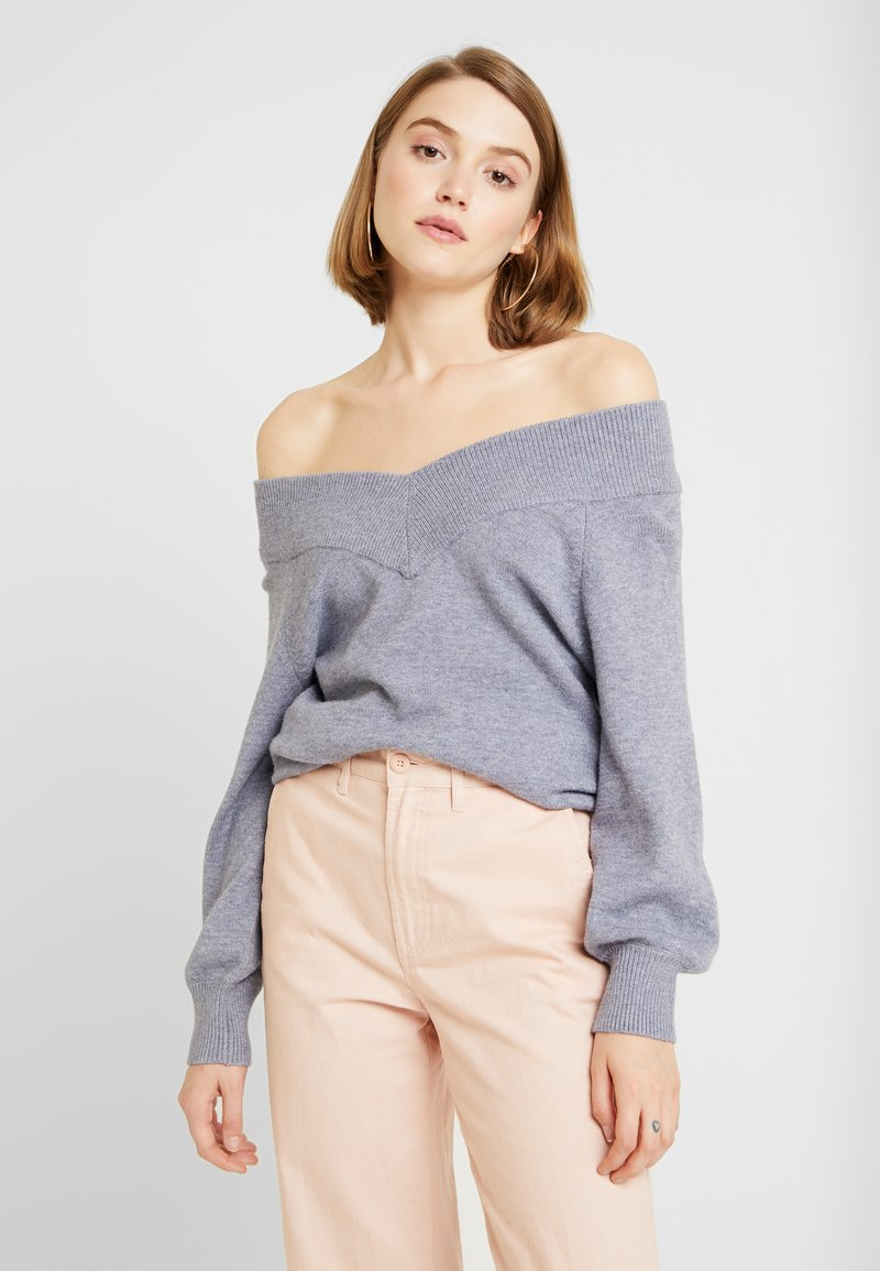 JDY - JDYSHANON OFF SHOULDER - Strickpullover - sky captain/melange