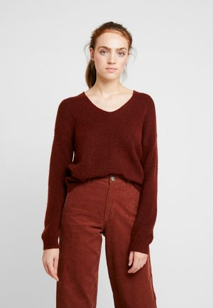 JDYDEBBIE V-NECK - Jumper - dark red