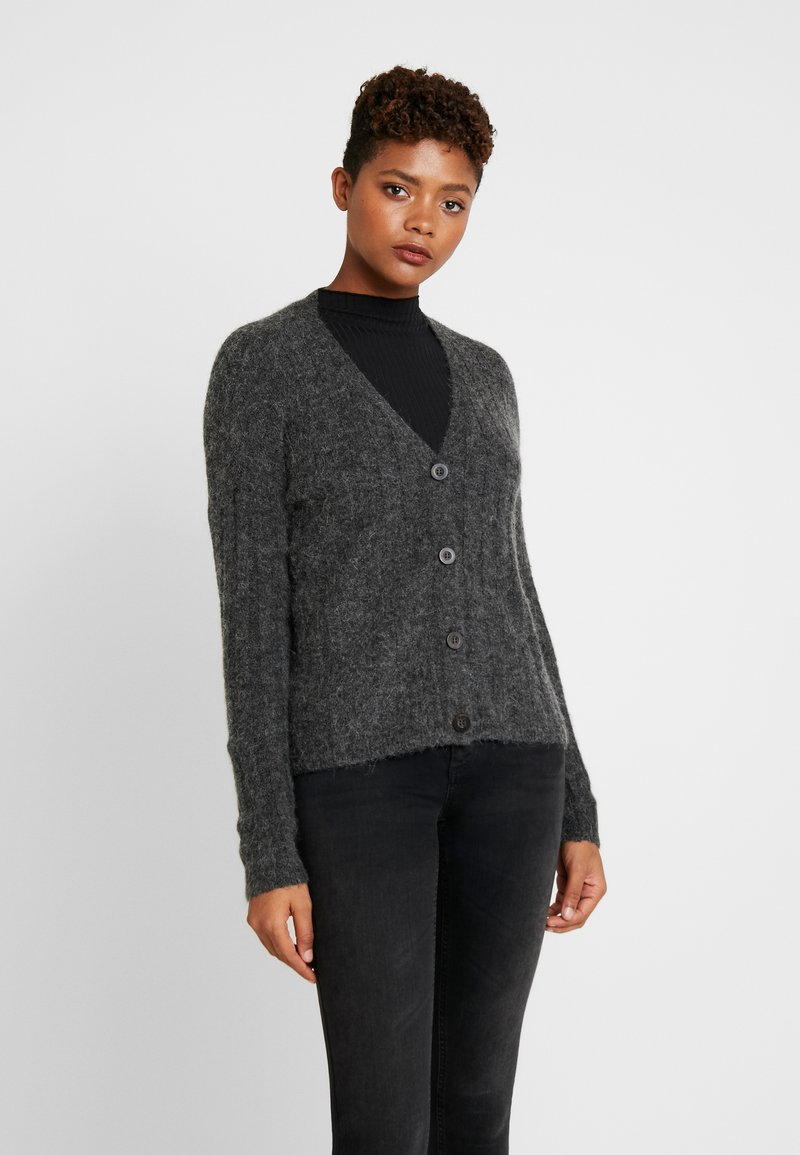 JDY - JDYNINE BUTTON CARDIGAN - Cardigan - dark grey melange
