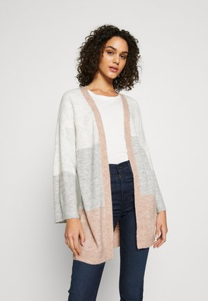 JDYTEA TREATS STRIPE CARDIGAN - Gilet - cloud dancer/light grey melang/rose melange