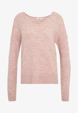 JDYTEA TREATS V-NECK - Jumper - adobe rose/melange