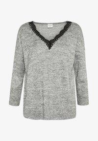 JDY - JDYCHOICE TREATS V-NECK - Jersey de punto - light grey melange/black - 3
