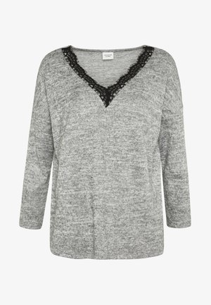 JDYCHOICE TREATS V-NECK - Maglione - light grey melange/black