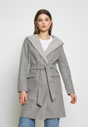 JDYOVIDA LONG HOOD JACKET - Short coat - light grey melange