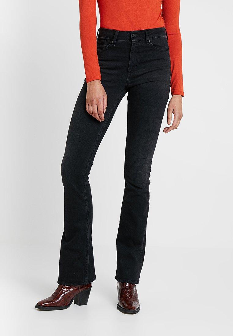 Kings Of Indigo - MARIE - Flared Jeans - black worn